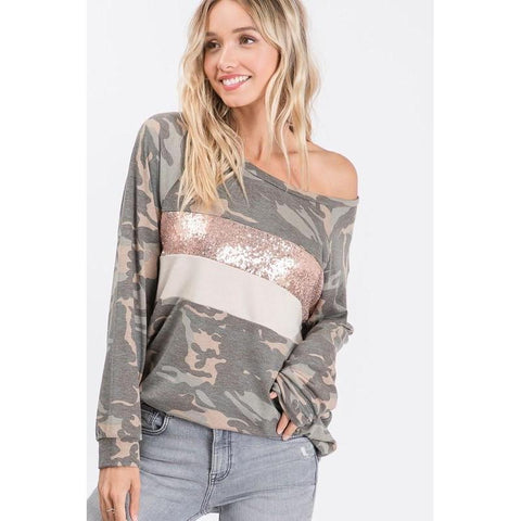 Camouflage Pullover Top with Front Panel Sequin Detail - M & H