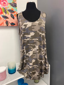 Fitted Camo Tank in Blue-M and H