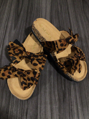 Double Bow Sandal In Leopard - M & H