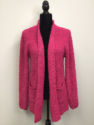 Popcorn Cardigan with Pockets in Hot Pink - M & H