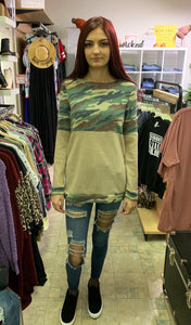 Camo Color Block Waffle Knit Top