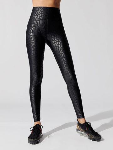 Liquid Leopard Leggings In Black - M & H