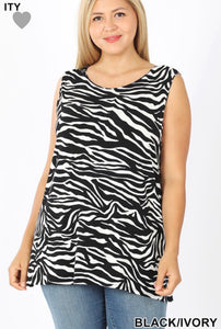 Zebra Print Sleeveless Top with Side Slit