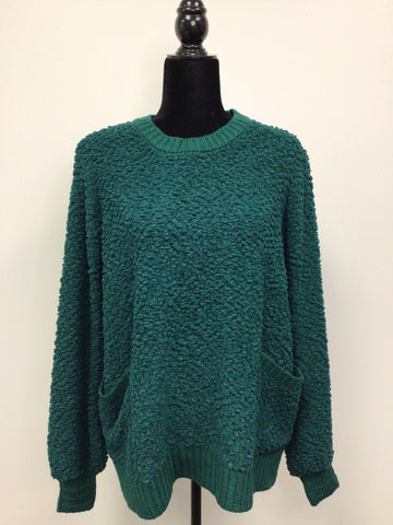 Oversized Popcorn Sweater with Pockets in Green - M & H
