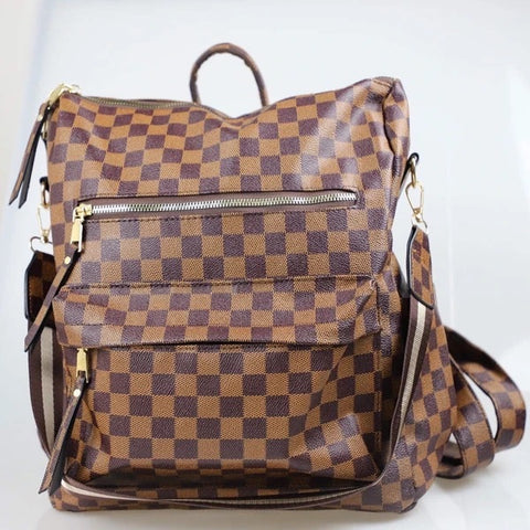 Brown Checkered Convertible Bag - M & H