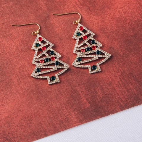 Rhinestone Christmas Dangle Earrings