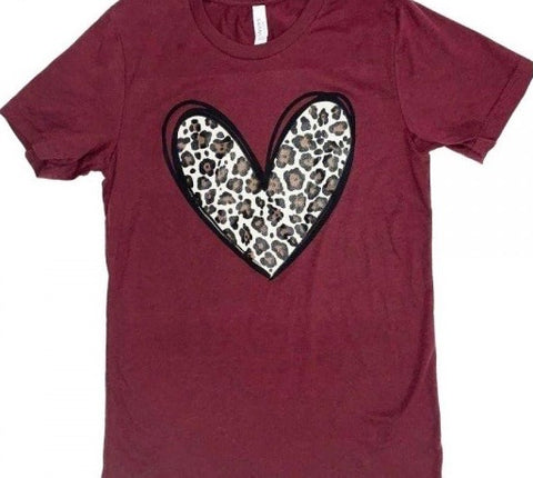 Leopard Heart Graphic Tee - 2 colors available - M & H