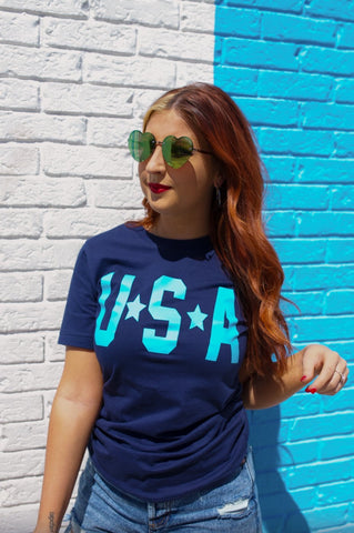 USA Stars Tee in Blue Ink - M & H