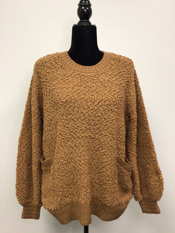 Oversized Popcorn Sweater with Pockets in Camel - M & H