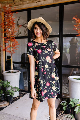Black Garden T-shirt Dress