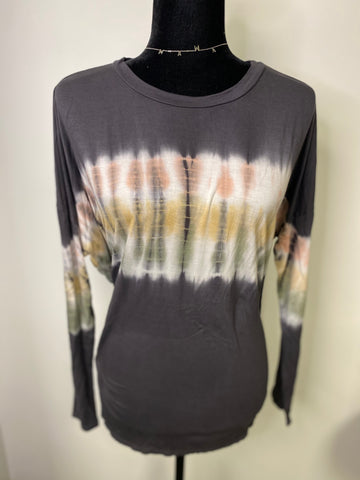Charcoal Grey Tie Dye Long Sleeve Top - M & H