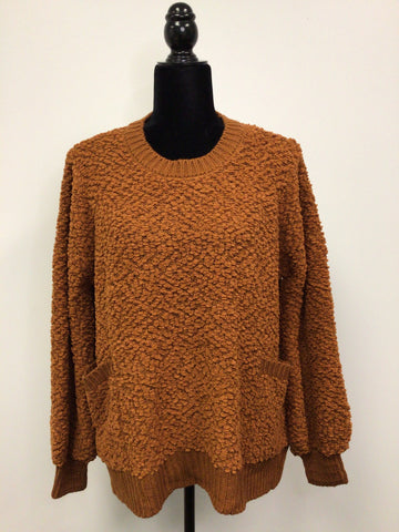 Oversized Popcorn Sweater with Pockets in Rust - M & H