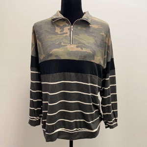 Camo & Stripes 3/4 Zip Pullover - M & H