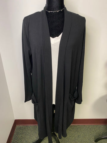 Long Black Cardigan With Pockets - M & H
