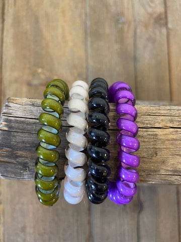 Spiral Hair Bands-Purple 4 pack - M & H