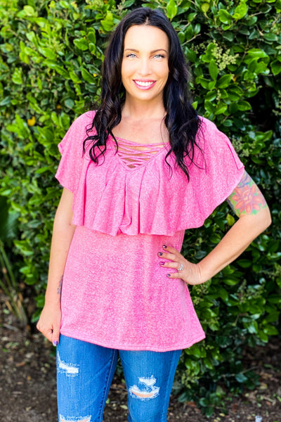 Magnificent Beauty Ruffle Top in Pink