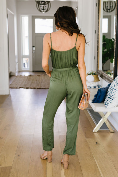 No Surprise Surplice Olive Jumpsuit