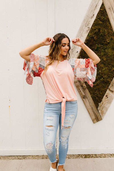 Patricia Peach Patchwork Top
