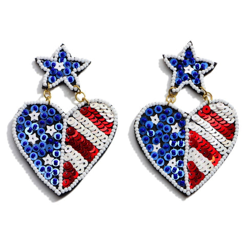 Seed Beaded Sequin USA Heart Earrings - M & H