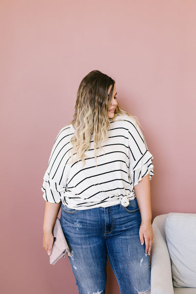 Twice As Nice Striped Top In Ivory