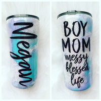 MINT AND LAVENDER HYDRO DIPPED TUMBLER WITH GLITTER