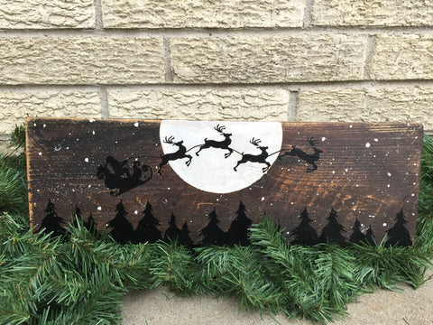 SANTA SLEIGH SILHOUETTE OVER MOON WOOD SIGN
