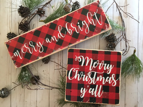 BUFFALO PLAID CHRISTMAS WOOD SIGN