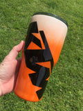 ORANGE AND BLACK DIRT BIKE TIRE MARK TUMBLER