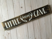 LITTLE MAN CAVE WITH ANTLERS WOOD SIGN