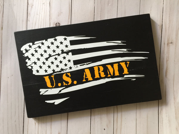 US ARMY BLACK AND WHITE AMERICAN FLAG WOOD SIGN