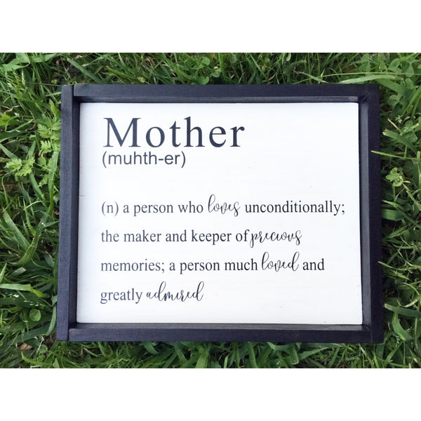 FRAMED MOTHER DEFINITION WOOD SIGN