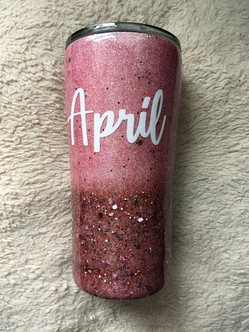 PINK AND ROSE GOLD GLITTER TUMBLER