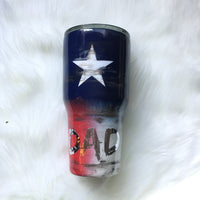DISTRESSED TEXAS FLAG TUMBLER