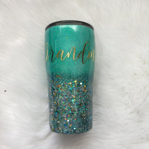 TURQUOISE AND GOLD GLITTER TUMBLER