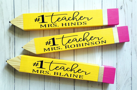 PERSONALIZED WOOD PENCIL TEACHER GIFT