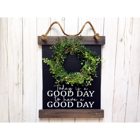 SCROLL WOOD SIGN WITH WREATH