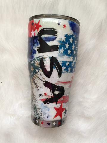 USA AMERICAN FLAG COLLAGE TUMBLER