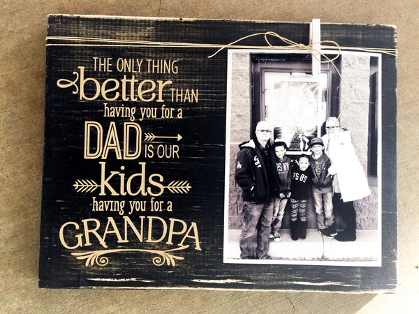 GRANDPA PHOTO HOLDER WOOD SIGN