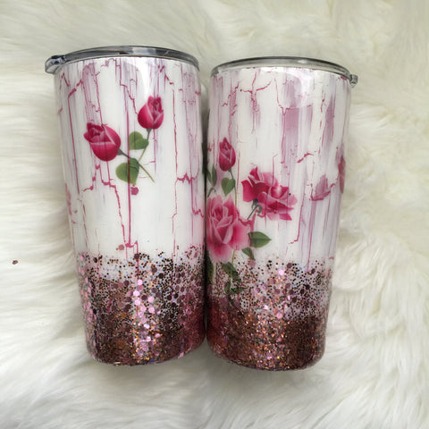 CRACKLE PAINT WITH ROSES AND GLITTER TUMBLER