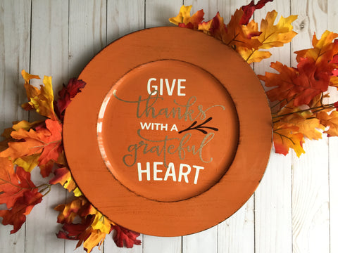 GIVE THANKS ORANGE CHARGER PLATE