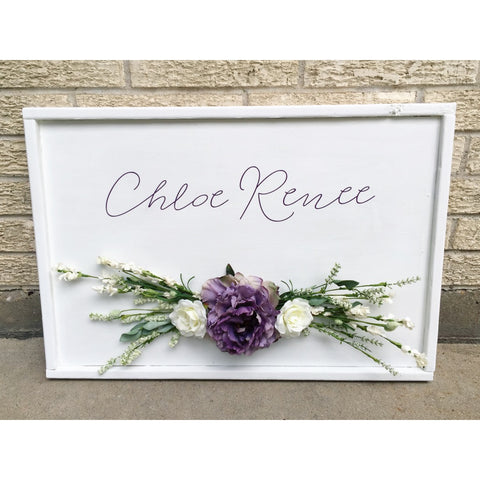 WOOD SIGN WITH FLOWERS - PERSONALIZED