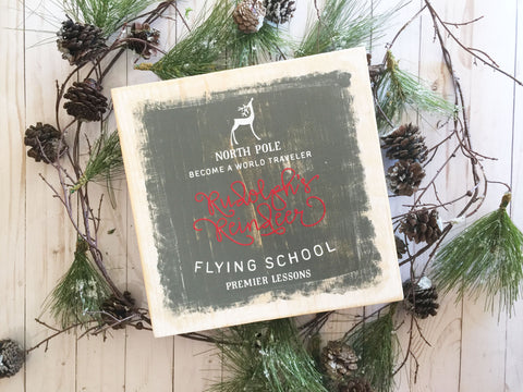 RUDOLPHS FLYING SCHOOL WOOD SIGN