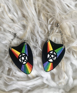 Rainbow Witch Ouija Planchette Dangle Earrings