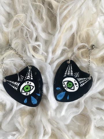 All Seeing Spiderweb Ouija Planchette Dangle Earrings