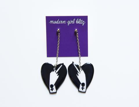 Middle Finger Dangley Earrings