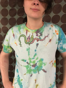 Hand Painted and Tie Dyed Tee- Snakes