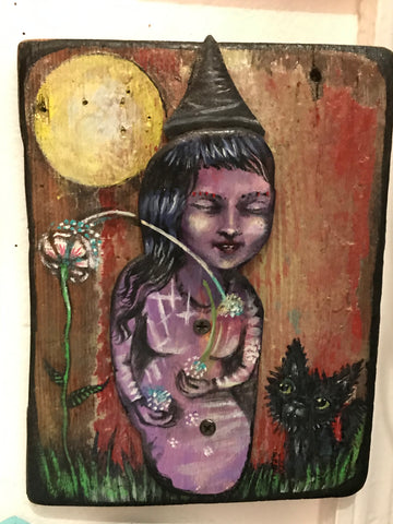 Little Witch with Black Cat ( wooden art)