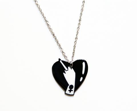 Middle Finger Heart Necklace