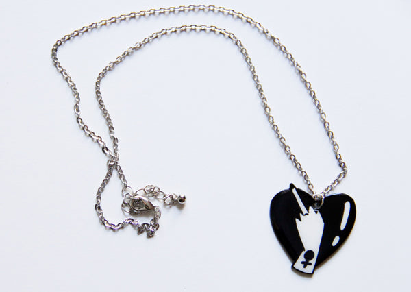 Lovely Middle Finger Heart Necklace