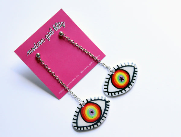 Rainbow Eye Dangle Earrings